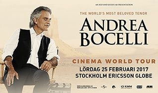 Andrea Bocelli In Concert tickets at Ericsson Globe in Stockholm