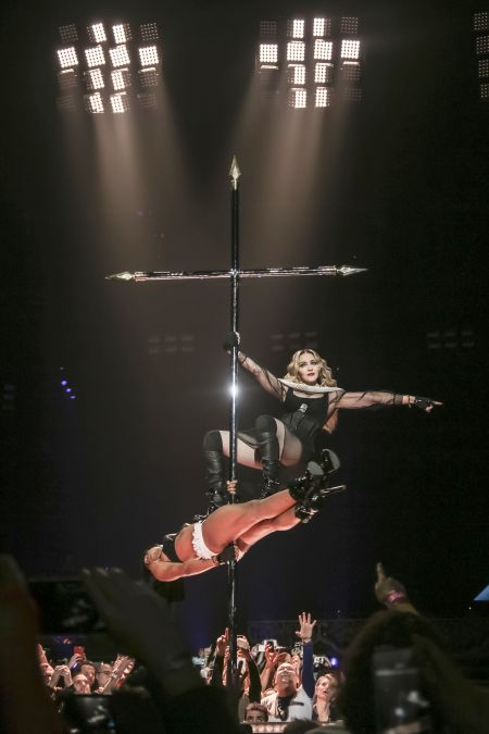 Pole dancing on a crucifix is par for the course at a Madonna show