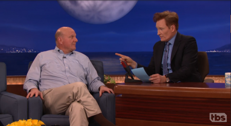 Watch: Clippers owner Steve Ballmer gets very excited about new ticket bidding service on 'Conan'