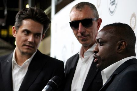 The John Mayer Trio pose on the red carpet at the Jazz Foundation of America Gala last October.