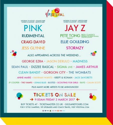 P!nk, Jay Z set to headline UK's 2017 V Festival