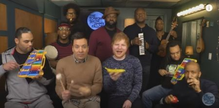Ed Sheeran plays 'Shape of You' with classroom instruments on 'The Tonight Show'