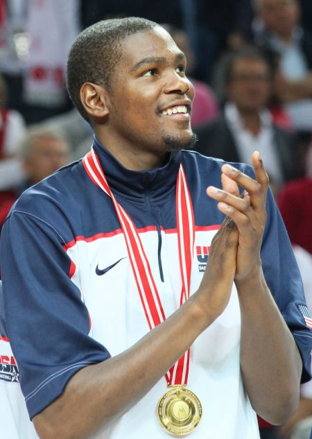 <p>Shown here playing for Team U.S.A., small forward Kevin Durant is now hurt, and the Golden State Warriors would be wise to rest him for as long as possible if they want to win another NBA championship.</p>
