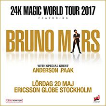 Bruno Mars tickets at ERICSSON GLOBE/Stockholm Live in Stockholm